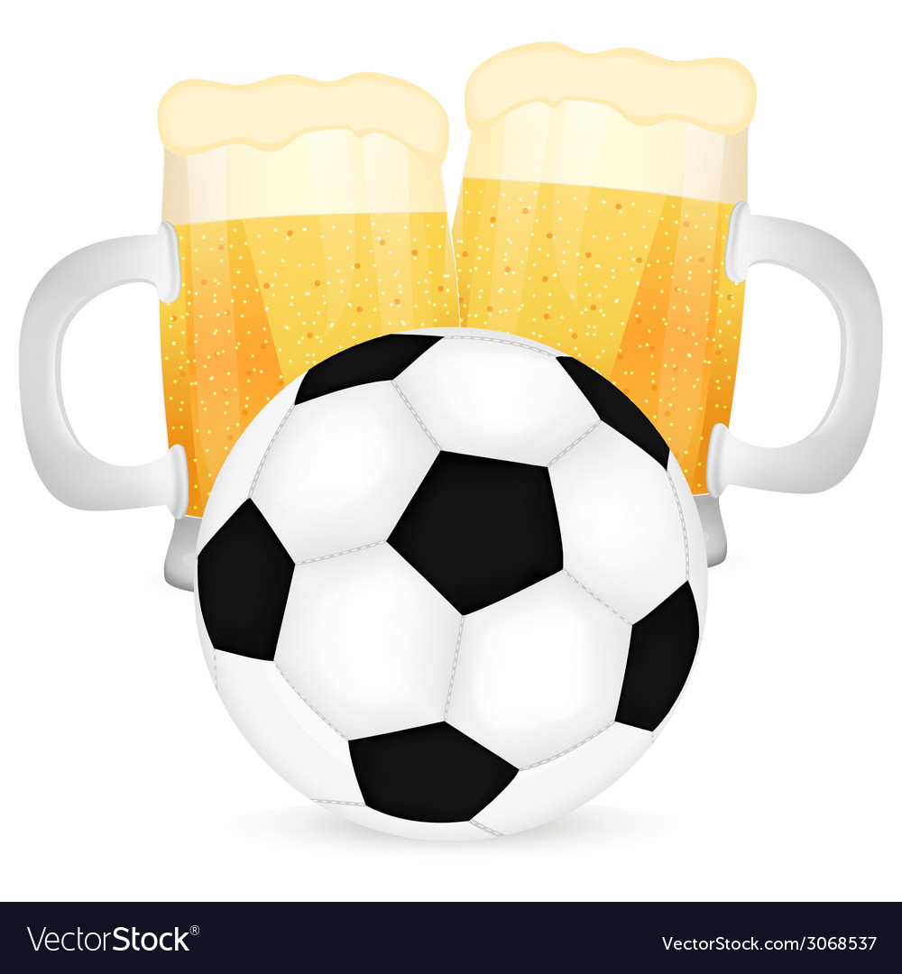 Two mugs of beer and a soccer ball vector