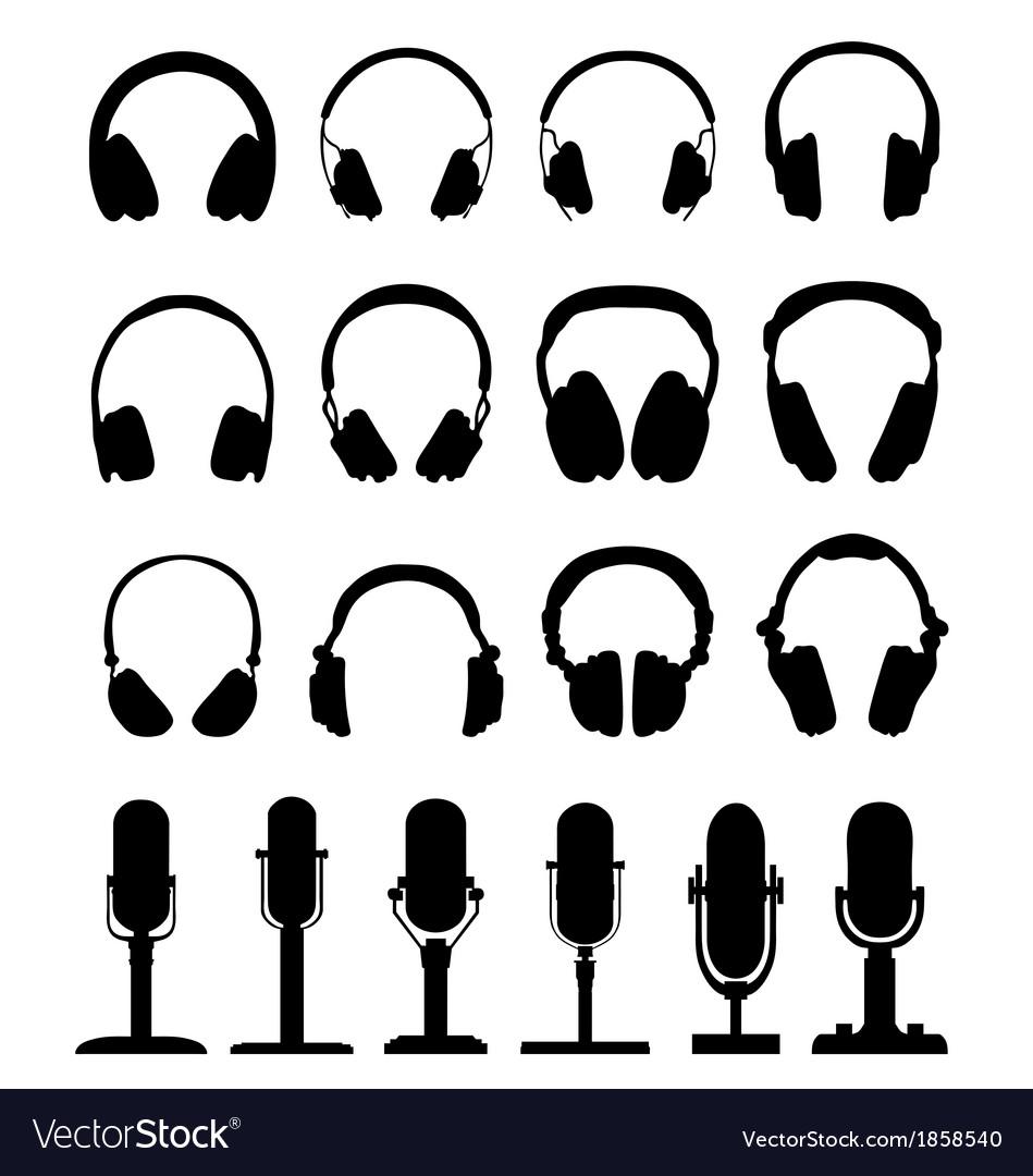 Headphones and microphones vector
