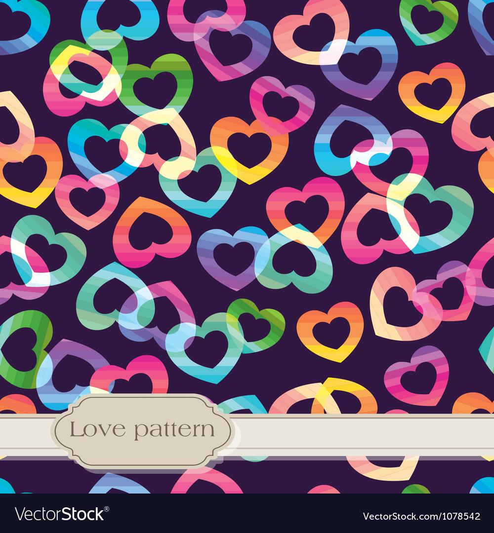 Seamless rainbow hearts vector