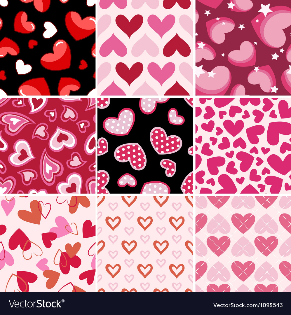 Seamless heart fabric pattern set vector