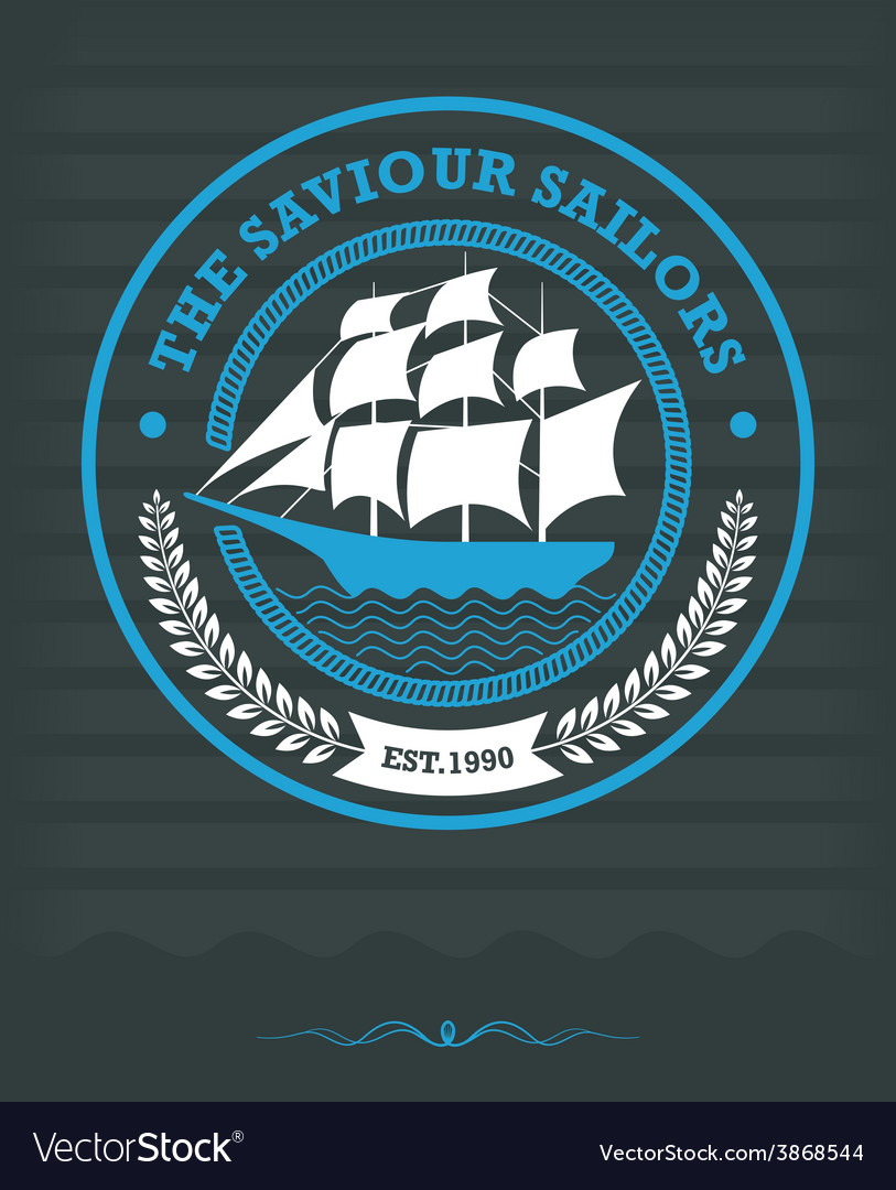 Vintage nautical label with sailing ship vector