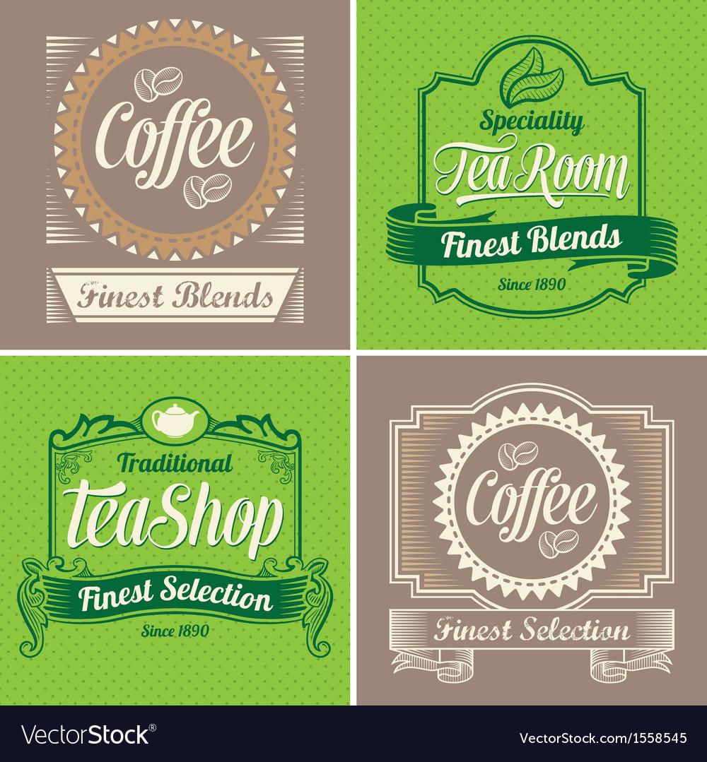 Vintage coffee and tea label design set vector