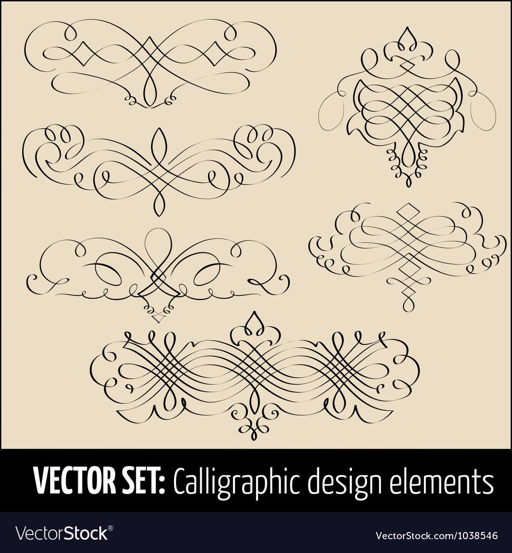 Set of calligraphic design elements vector