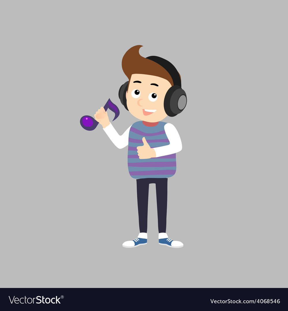 Stylish boy listening music vector