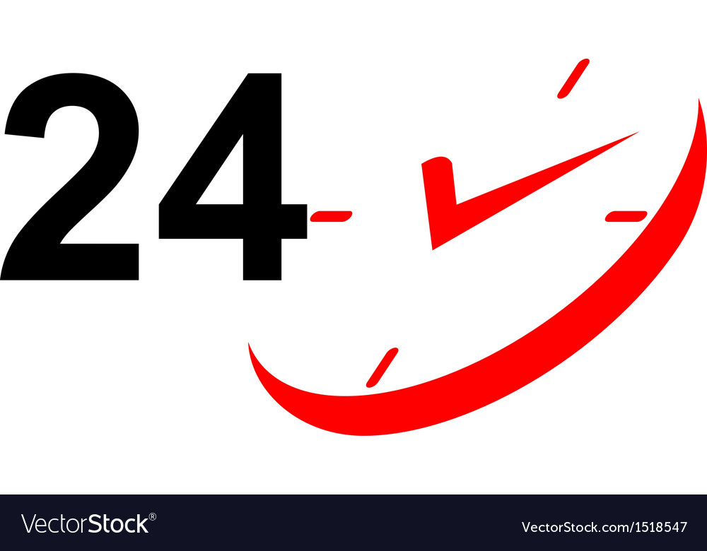 24 hour sign and clock vector