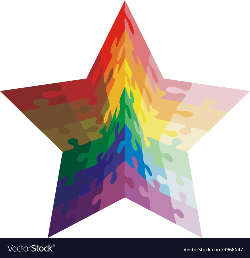 Jigsaw puzzle shape of a star shaped colors vector