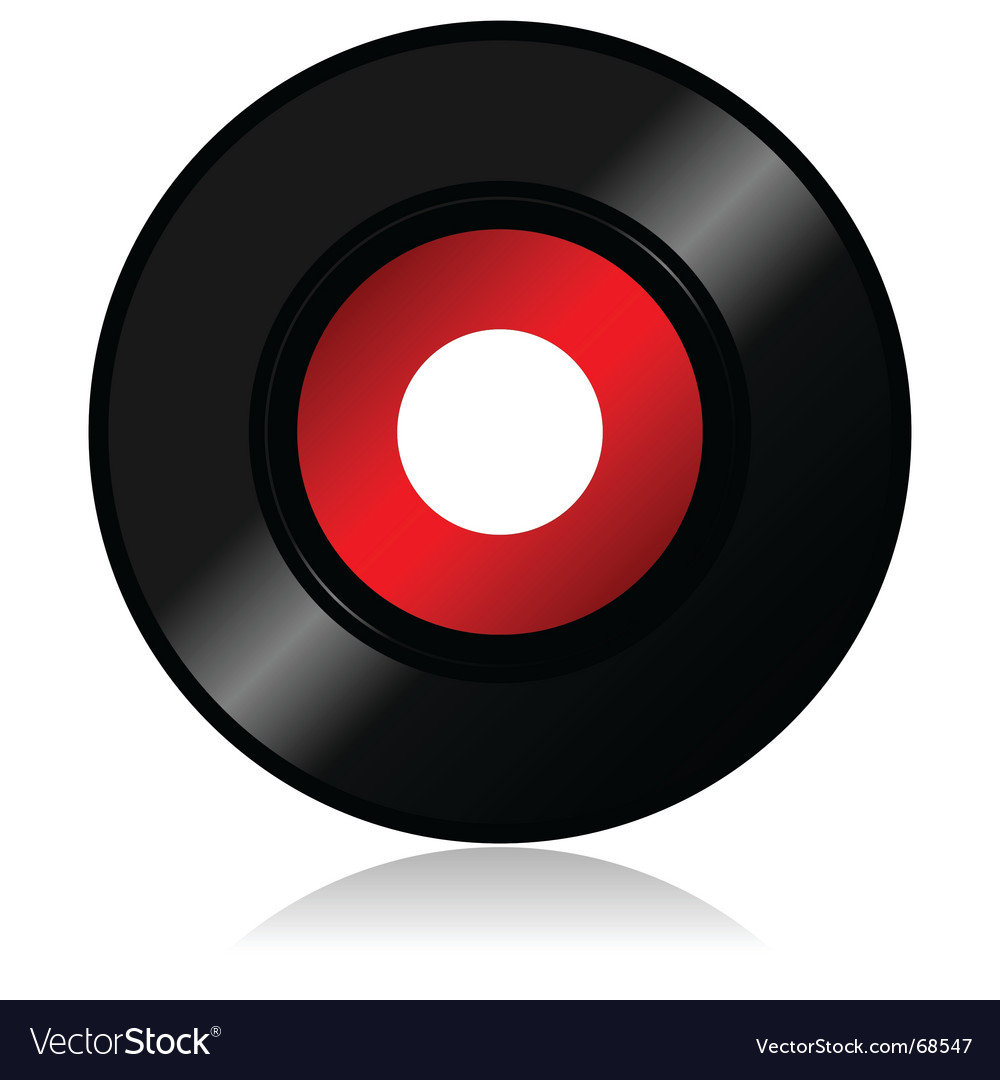 Vinyl record with shadow vector