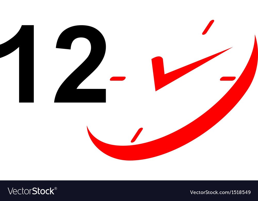 12 hour sign and clock vector