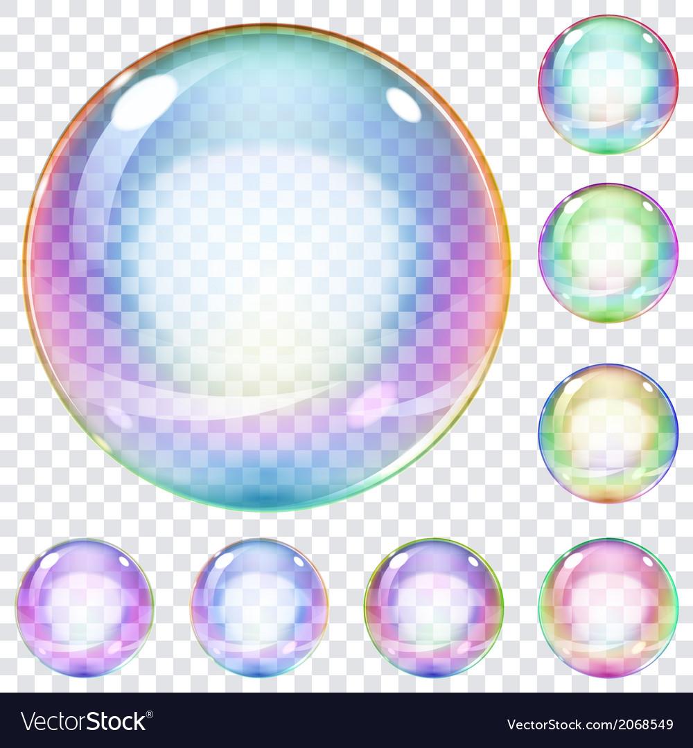 Set of multicolored soap bubbles vector