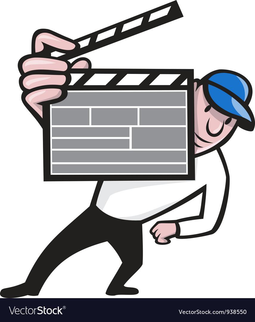 Director with movie clapboard cartoon vector