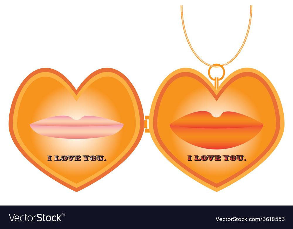 Heart locket vector