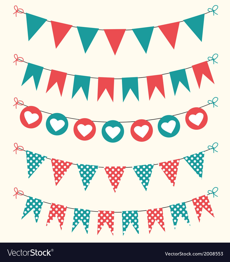 Retro bunting set red and green for scrapbook vector