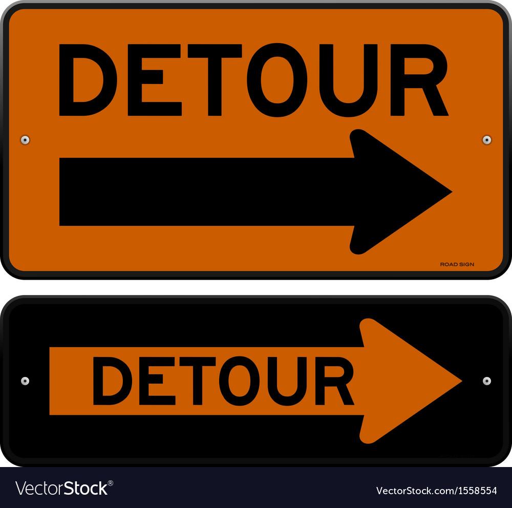 Detour sign vector