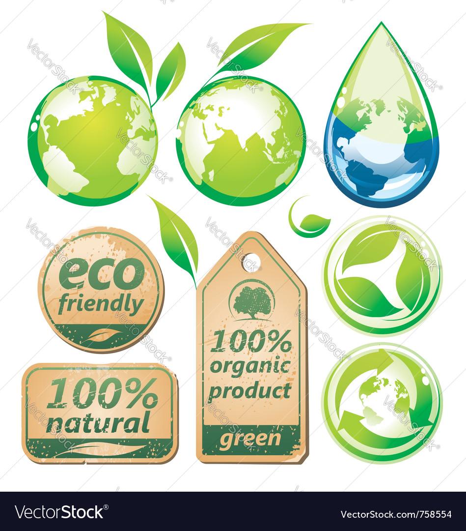 Green environmental set vector