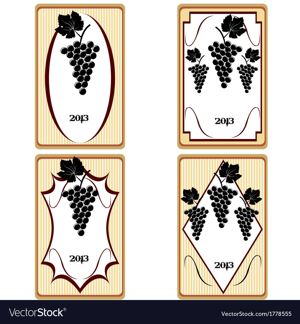 Vintage labels with grapes advertisement for wine vector
