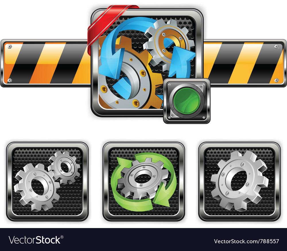 Industrial gear icons vector