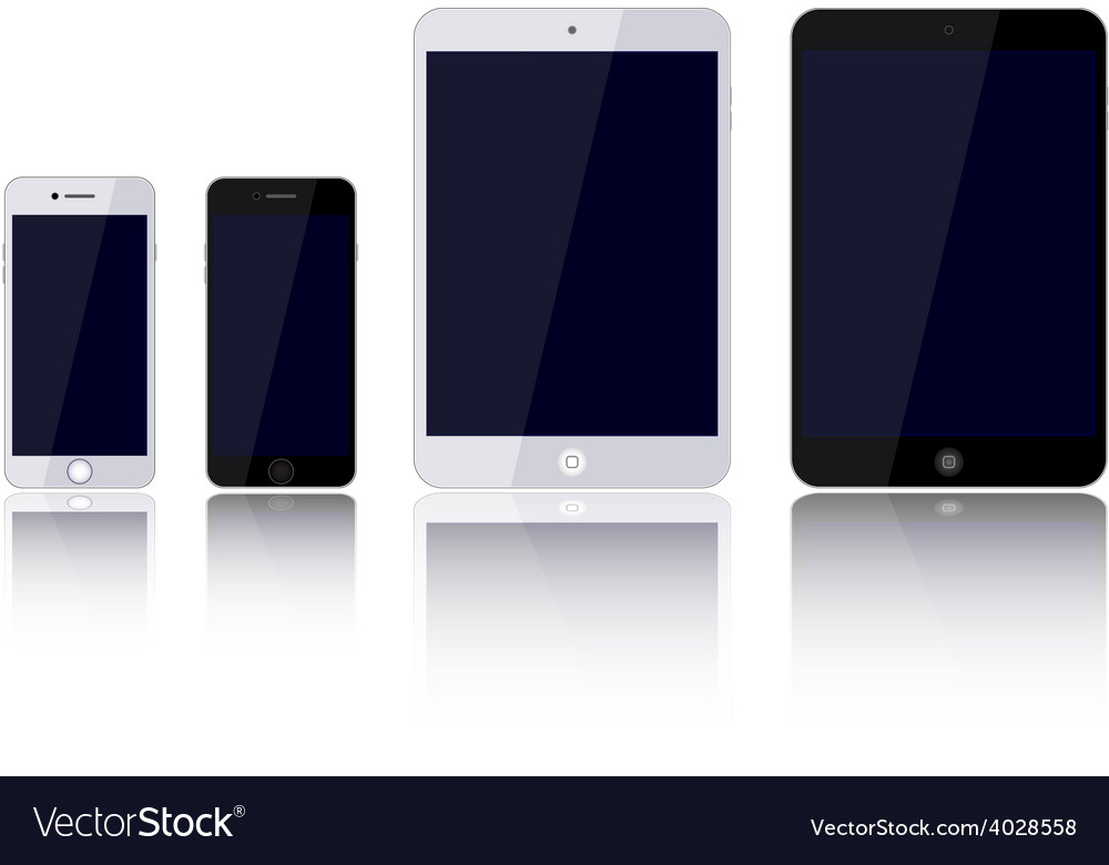 Set devices phone tablet computer vector