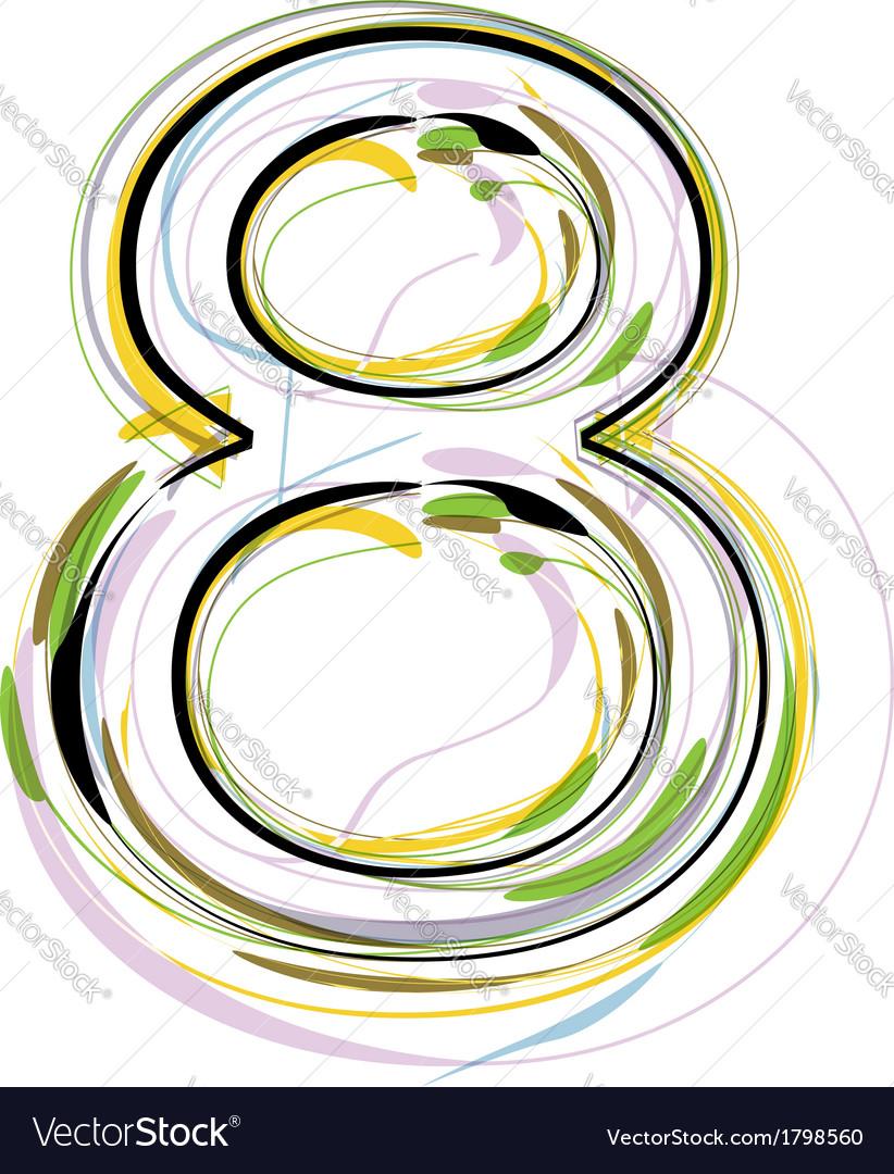 Organic font number 8 vector