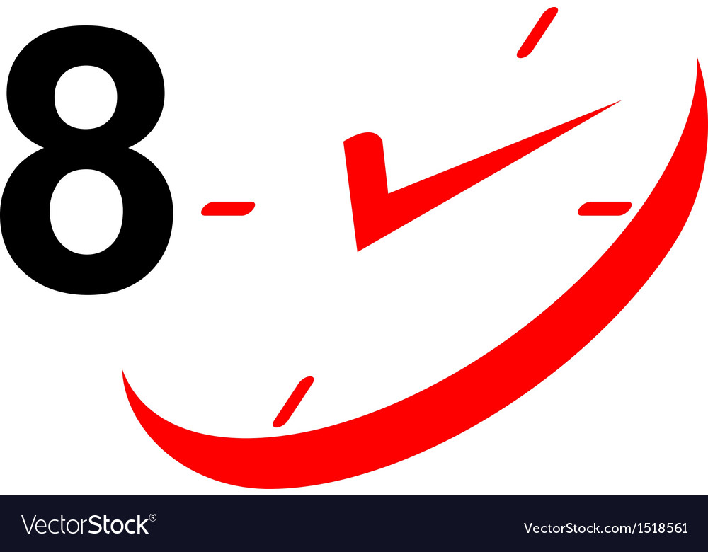 8 hour sign and clock vector