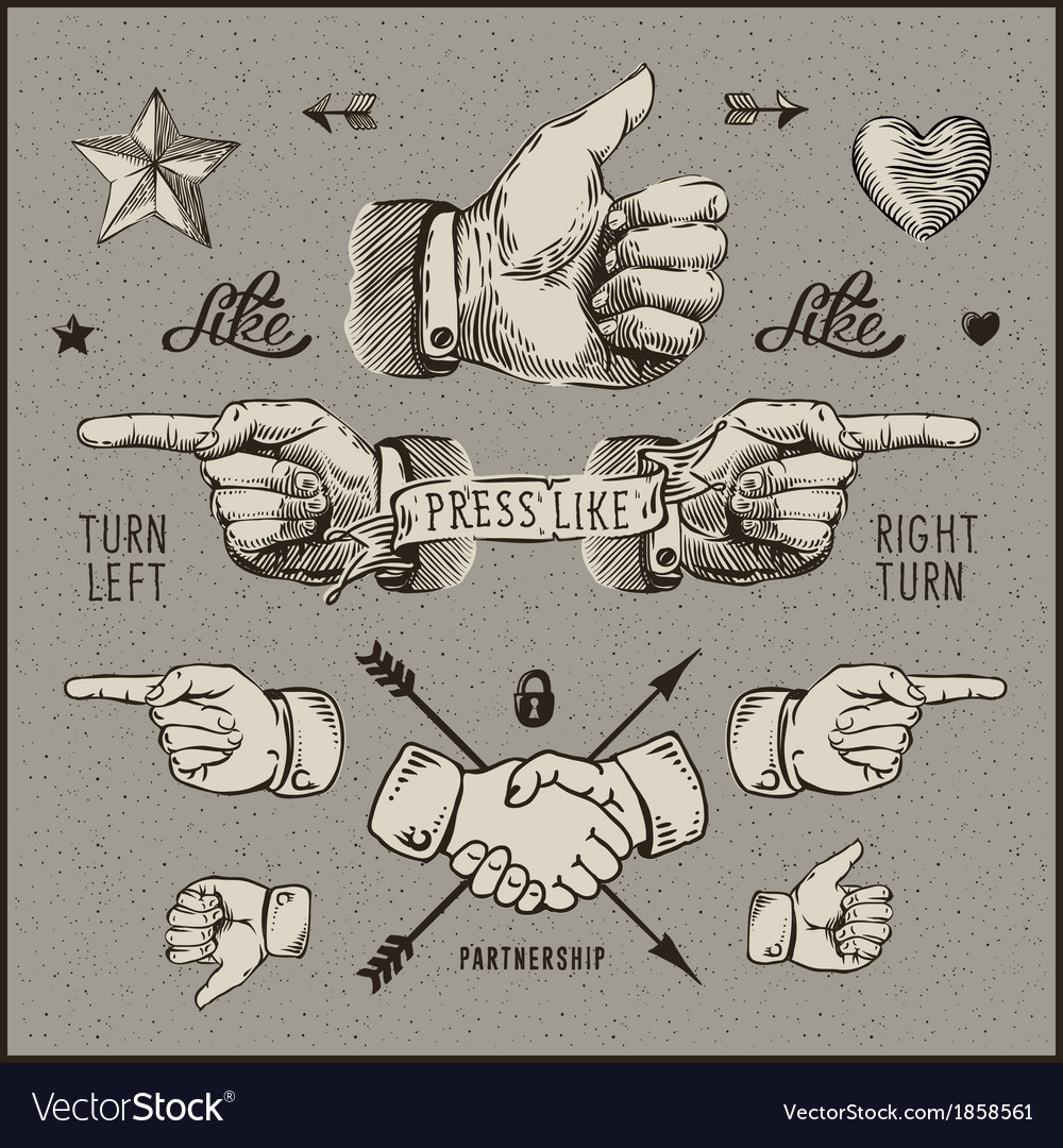 Dsign elements - thumb up pointer handshake vector