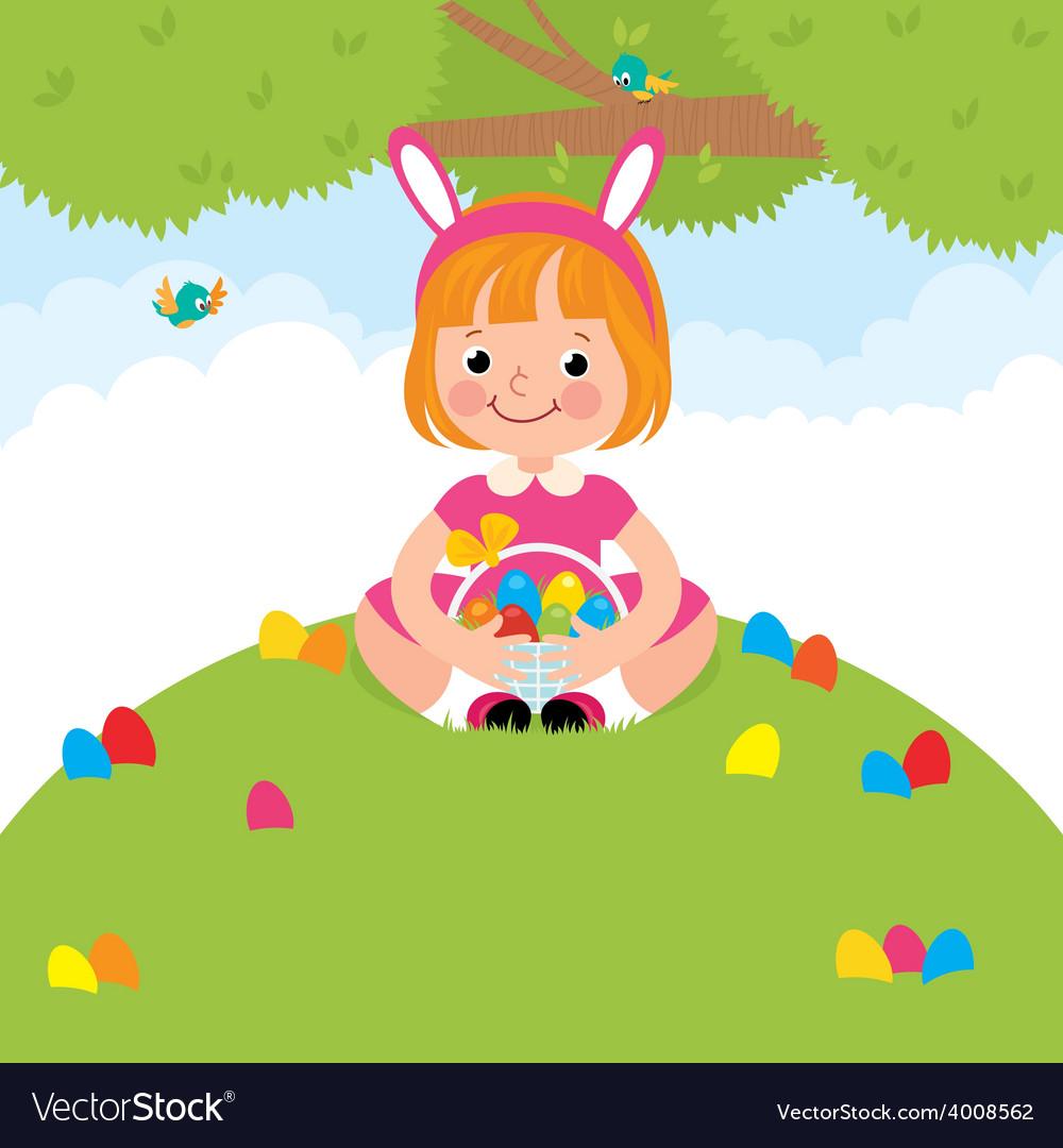 Happy children in rabbit costume for easter holida vector