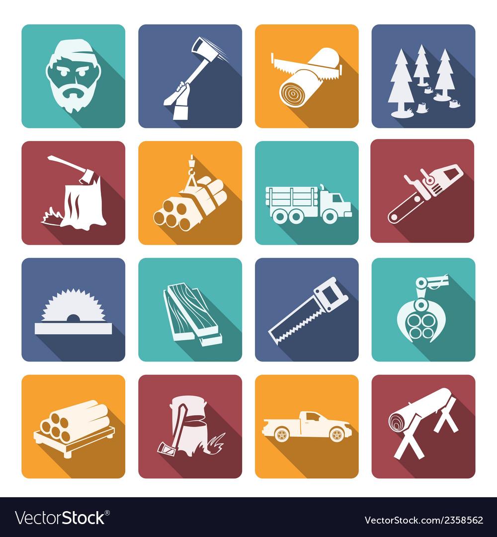 Lumberjack woodcutter icons vector