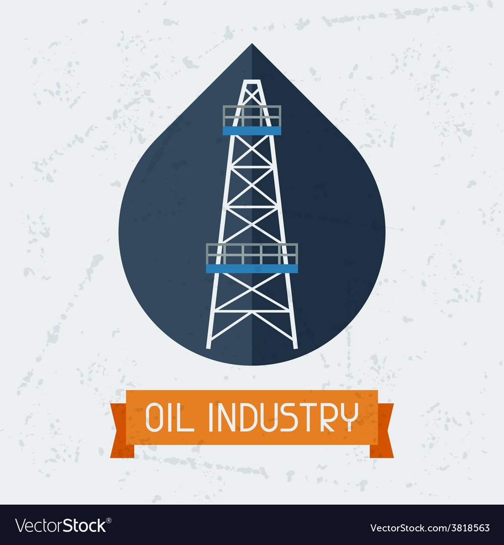 Oil derrick in oilfield background vector