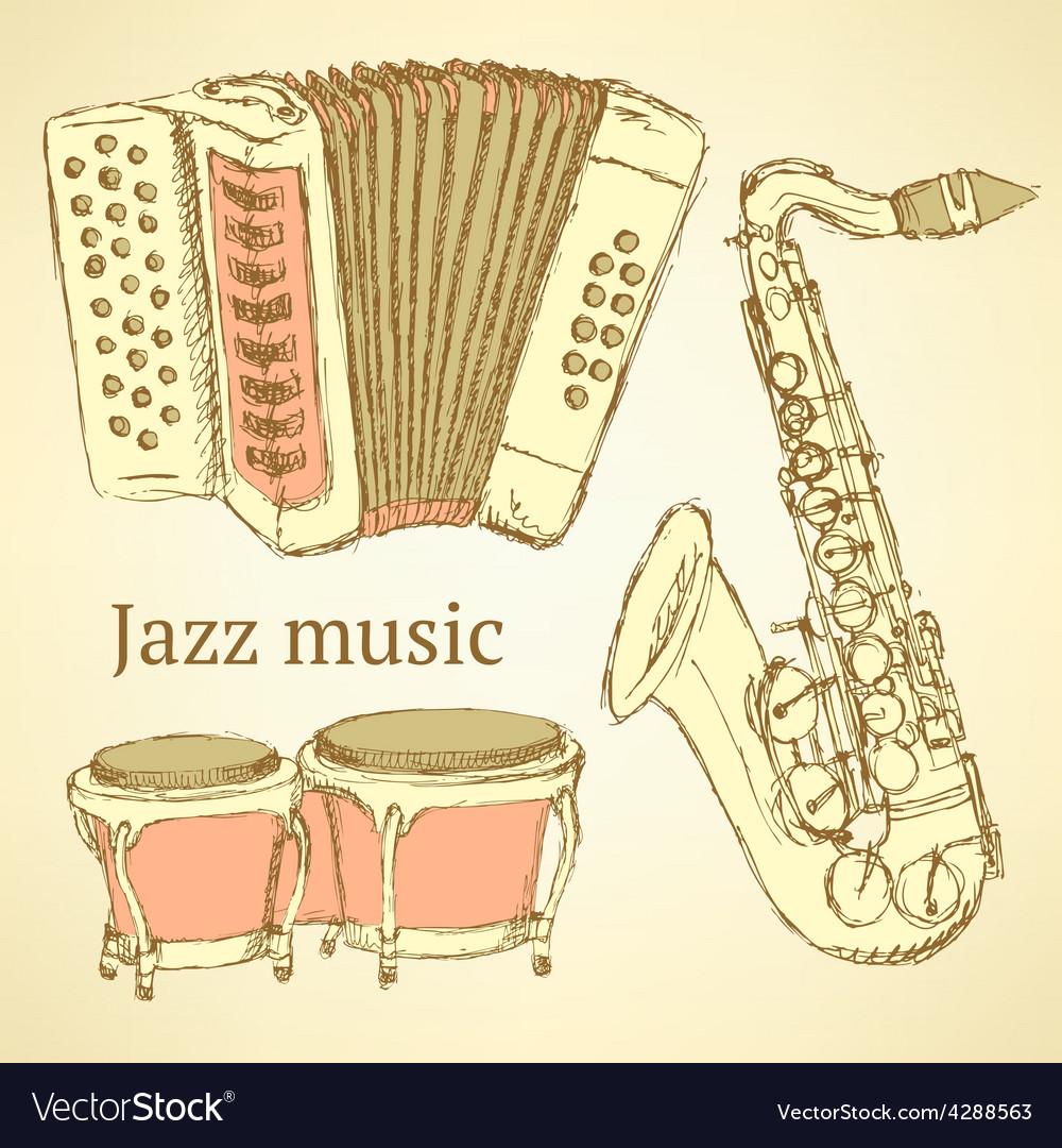 Sketch musical instrument vector