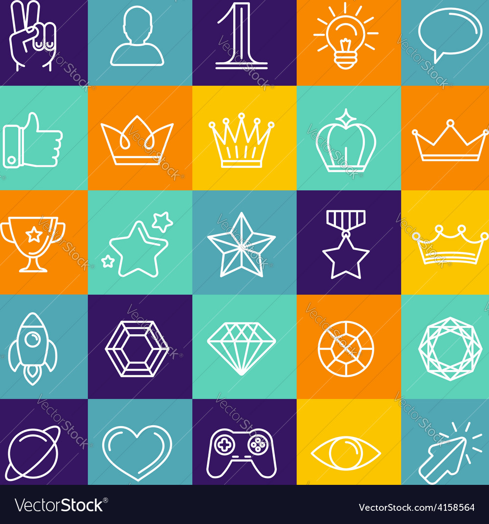 Set of linear game icons vector