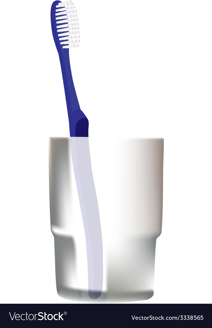 Blue toothbrush in glass vector