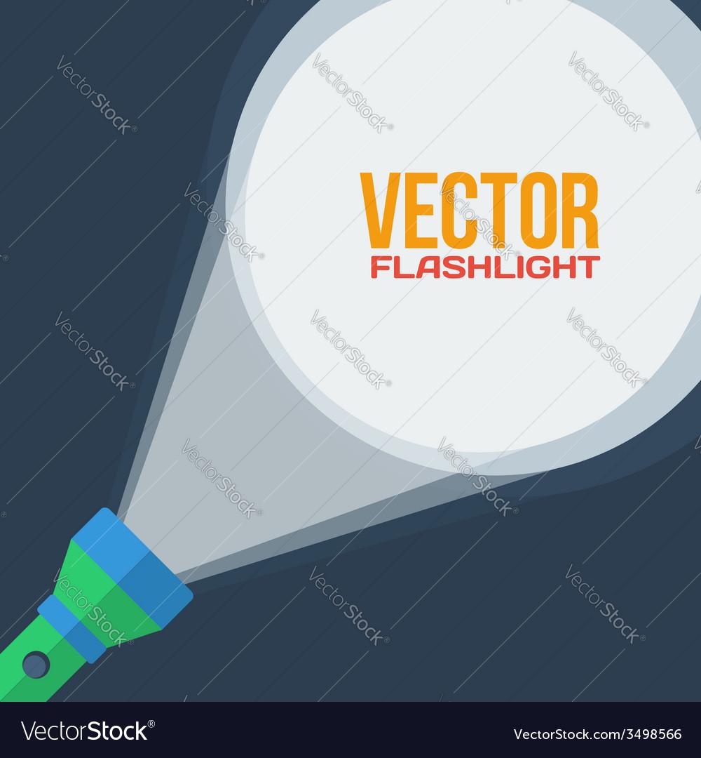 Green flashlight in flat style on dark background vector