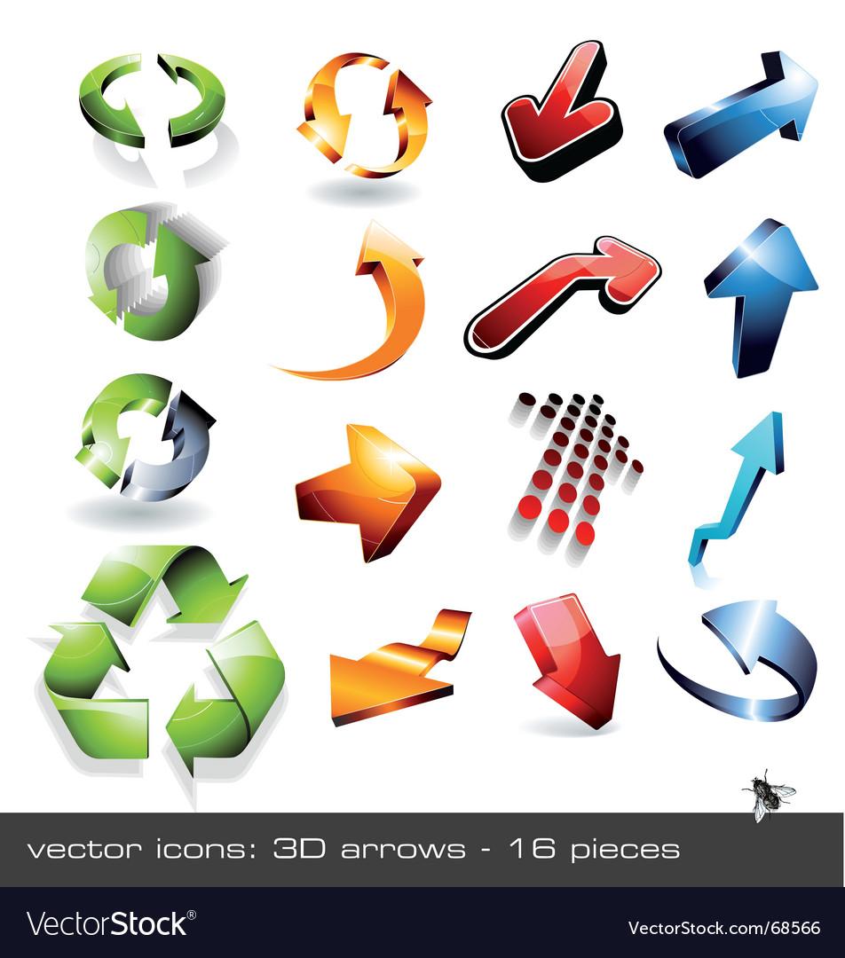 Icon set  3d arrows vector