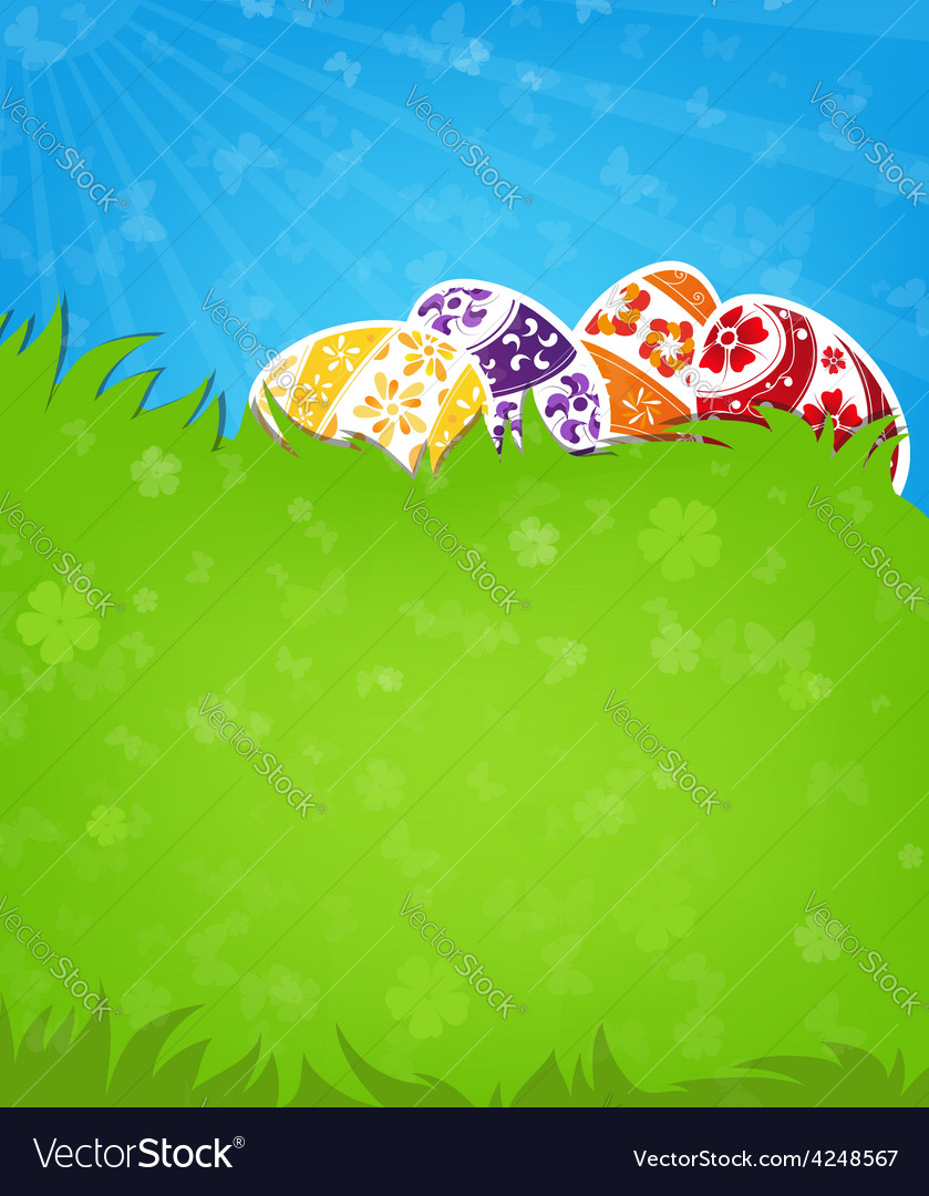 Eggs on a green meadow vector