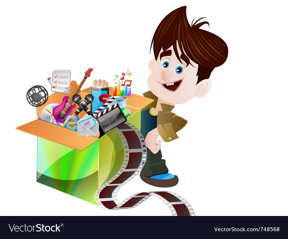 Children and box vector