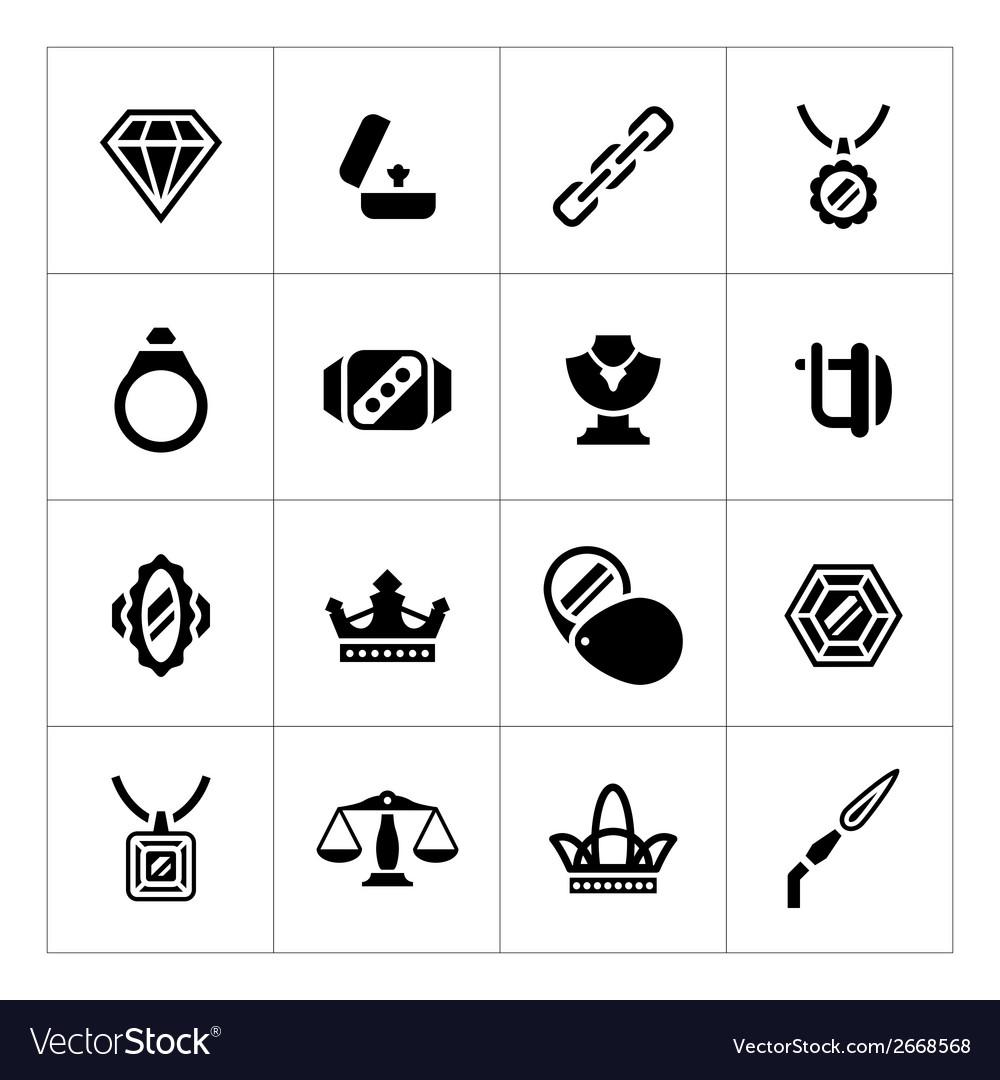 Set icons of jewelry vector