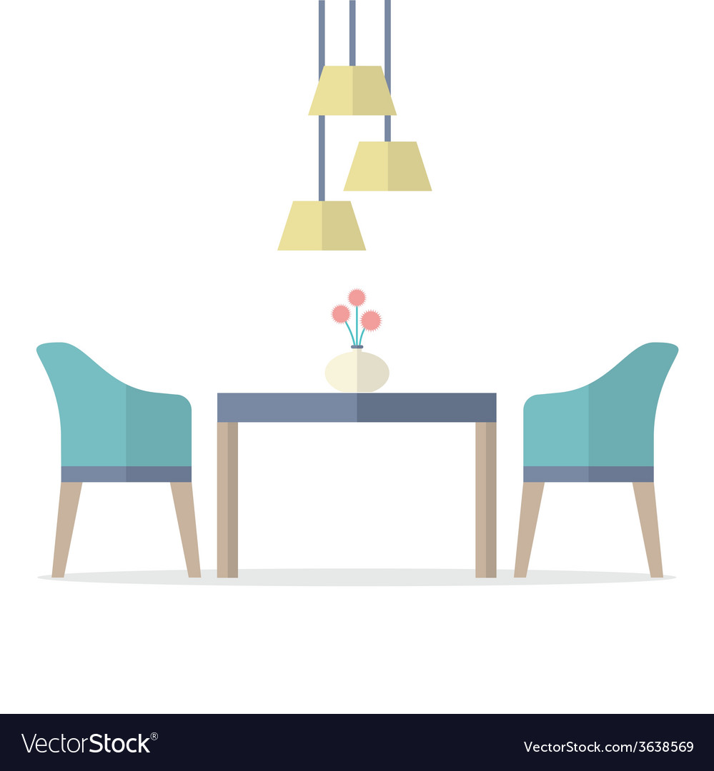 Flat design interior dining room vector
