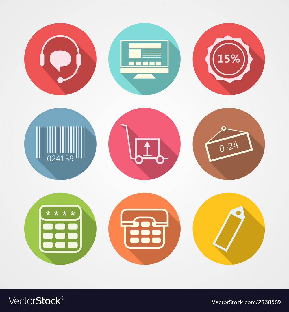 Flat icons for internet retail service vector