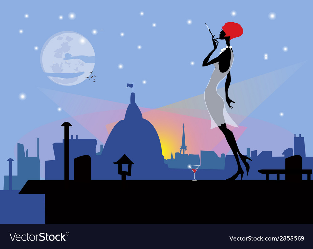 Modern girl on a roof with a cigarette vector