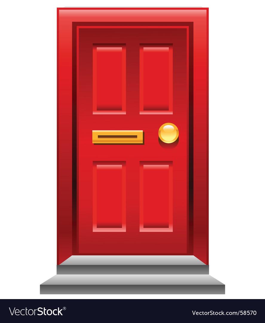 Red door icon vector