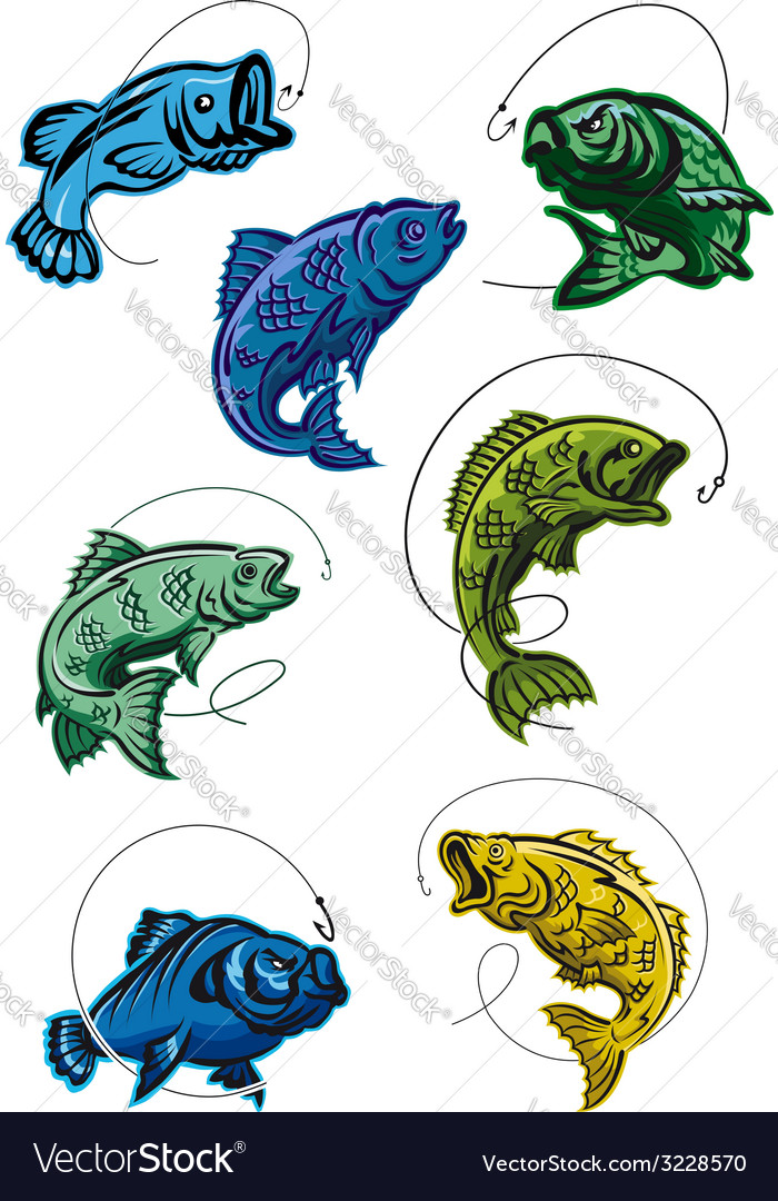 Set of deep-sea fish leaping on a hook vector