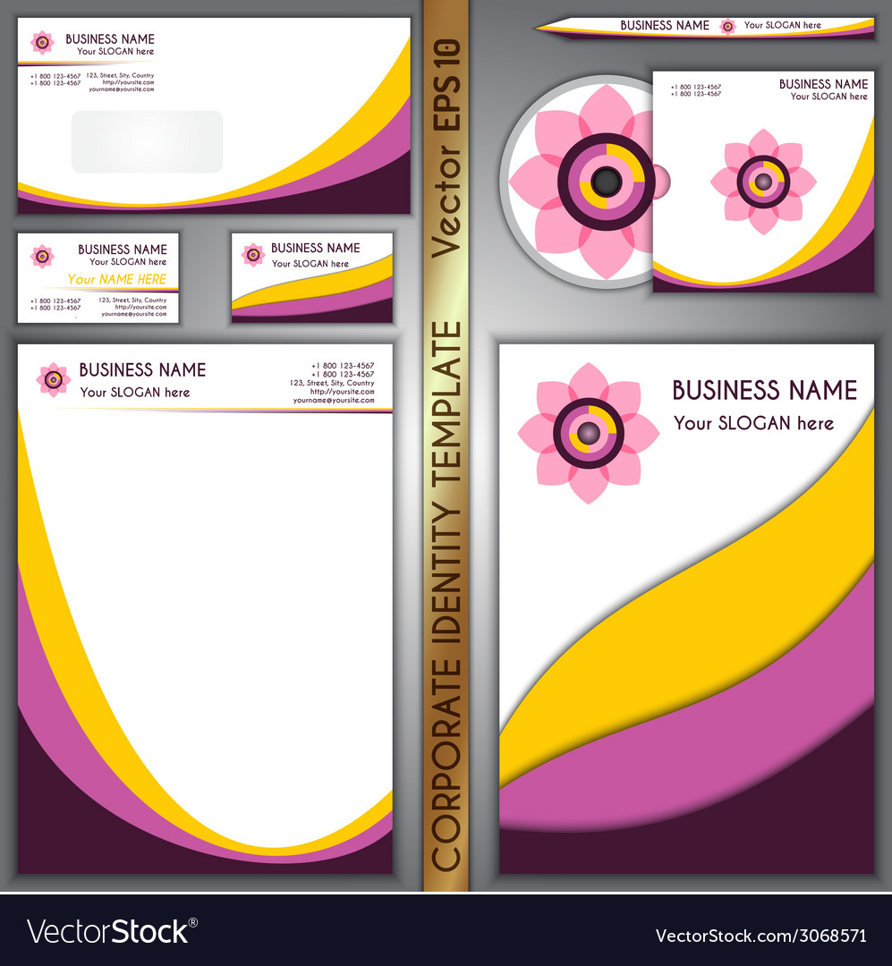 Corporate brand yellow and purple template vector