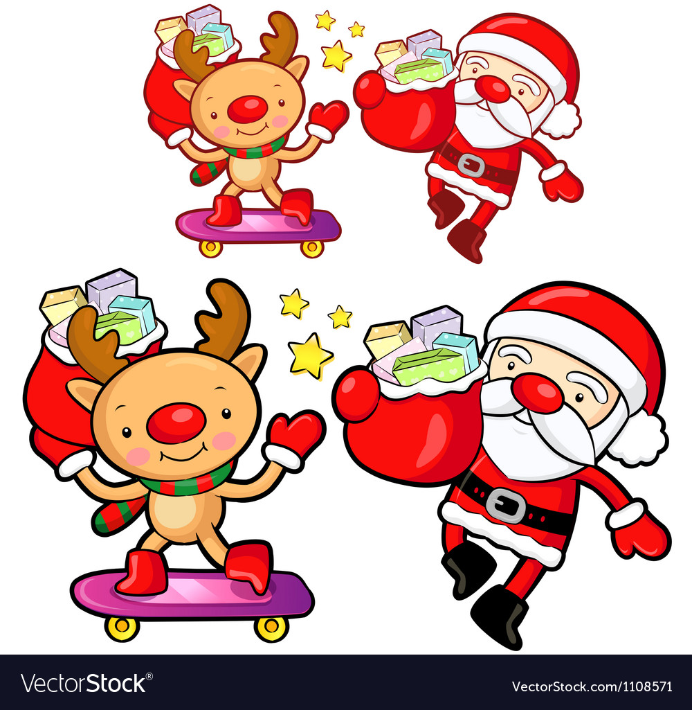 Santa claus and deer mascot the event activity vector