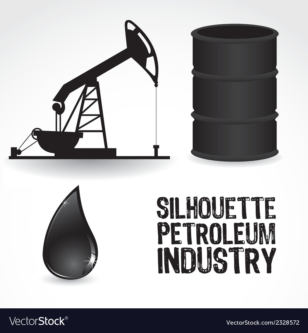 Icons in the oil industry contains gallon pump and vector