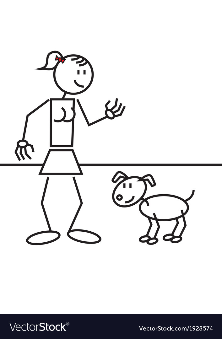 Stick figure girl dog vector