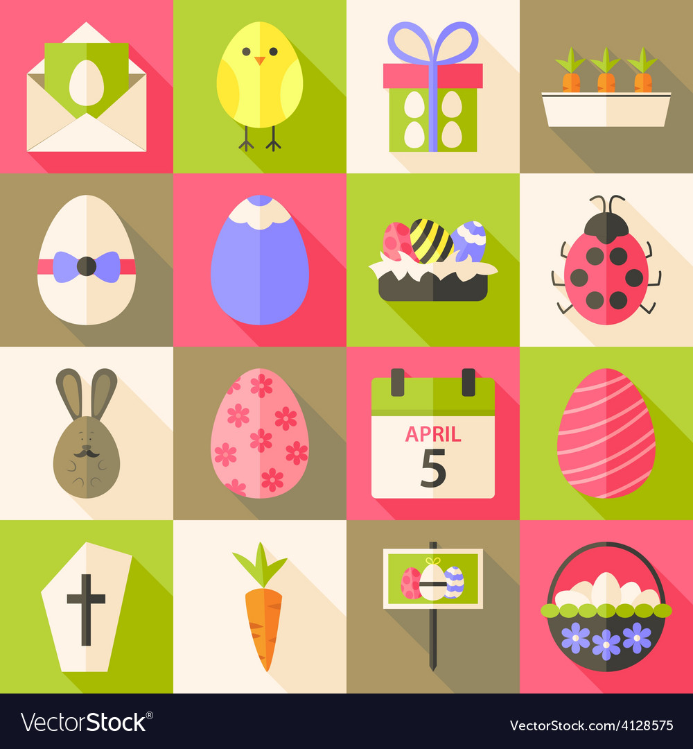 Easter flat styled icon set 4 with long shadow vector