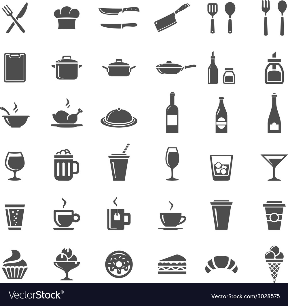 Restaurant kitchen icons vector