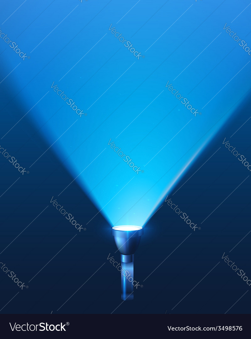 Blue shining flashlight light background vector