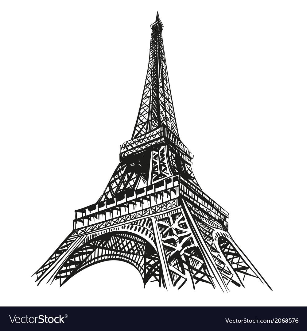 Eiffel tower hand drawn paris vector
