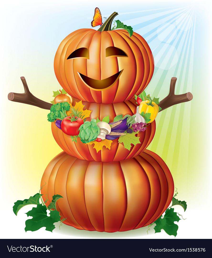 Fun pumpkin and harvest vector