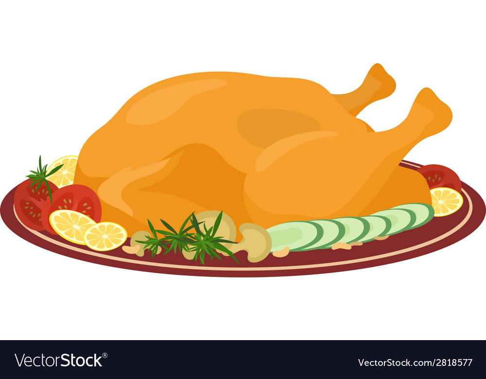 Meal on dish roasted turkey vector